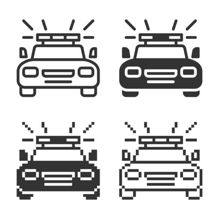 Police car icon in different variants: line, solid, pixel, etc.