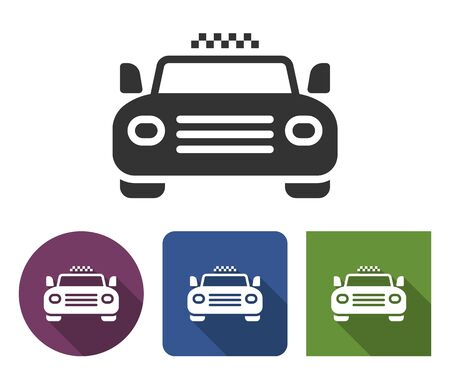 Taxi icon in different variants with long shadow