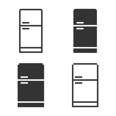 Monochromatic refrigerator icon in different variants: line, solid, pixel, etc. 向量圖像
