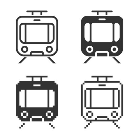 Monochromatic trami icon in different variants: line, solid, pixel, etc. Illustration