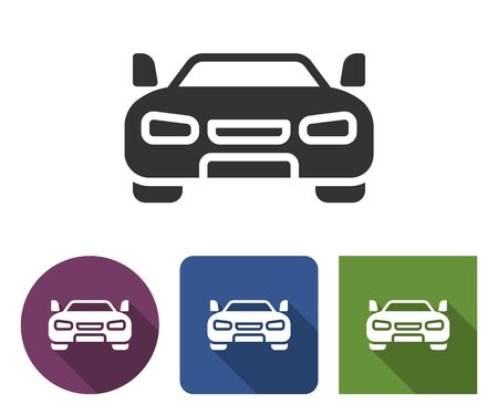 Car icon in different variants with long shadow