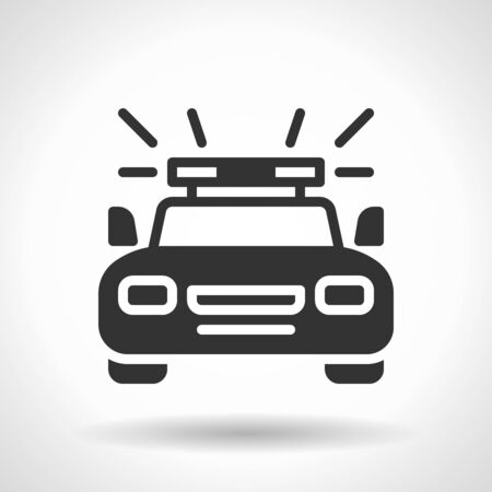 Monochromatic police car icon with hovering effect shadow on grey gradient background. EPS 10