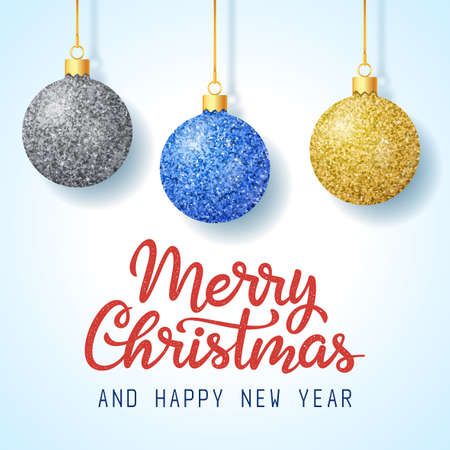 Merry Christmas and Happy New Year greeting card. Hand drawn lettering with Christmas tree decorations on blue gradient background
