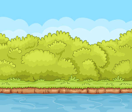 Cartoon river bank with dense bushes Illustration