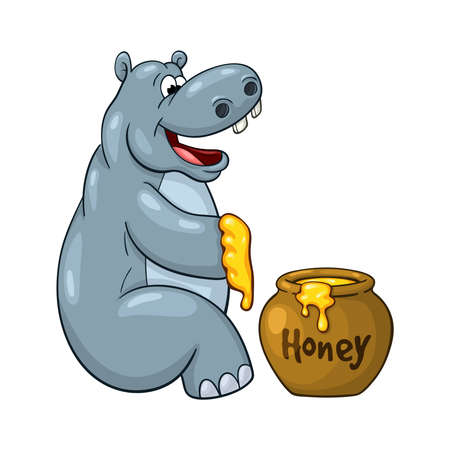 Happy cartoon hippopotamus who prepared to eat large portion of honey. On white background Illustration