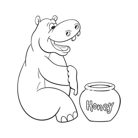 Black and white illustration of happy cartoon hippopotamus who prepared to eat large portion of honey Illustration