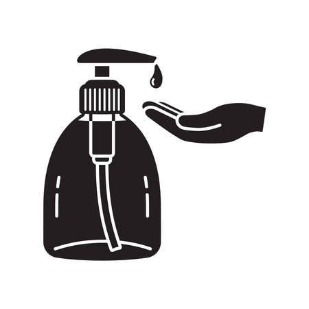 Monochromatic icon of a bottle of liquid soap or some other detergent or antiseptic. With hand waiting for washing. On white background Illustration