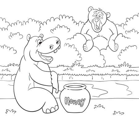 Black and white illustration of cartoon bear is looking with great surprise at the happy hippopotamus who prepared to eat impressive portion of honey