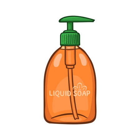 Hand drawn cartoon illustration of liquid soap bottle. On white background