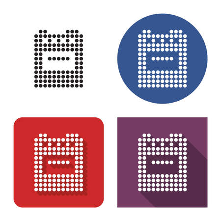 Dotted icon of cooker in four variants. With short and long shadow