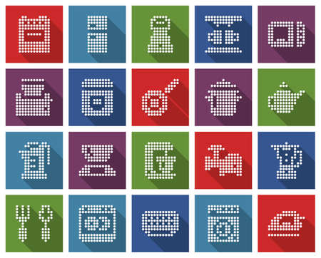 Square dotted icons set of some kitchen utensils and home appliances