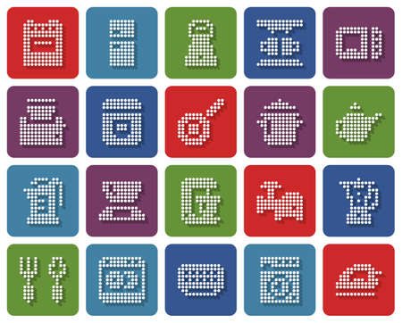 Rounded square dotted icons set of some kitchen utensils and home appliances Illustration