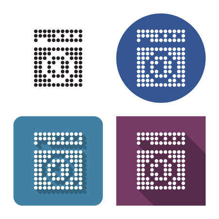 Dotted icon of clothes washer in four variants. With short and long shadow Illustration