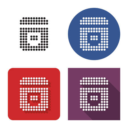 Dotted icon of multicooker in four variants. With short and long shadow Illustration