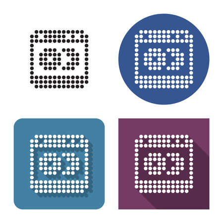 Dotted icon of dishwashing machine in four variants. With short and long shadow