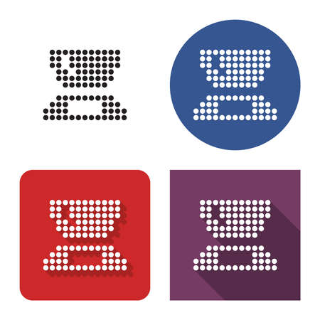 Dotted icon of kitchen scales in four variants. With short and long shadow Illustration