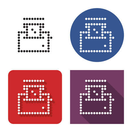 Dotted icon of toaster in four variants. With short and long shadow