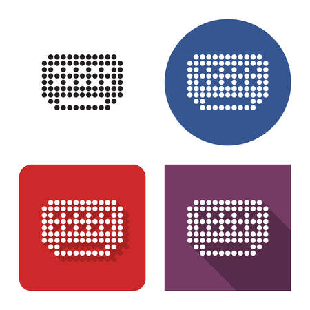 Dotted icon of air conditioner  in four variants. With short and long shadow