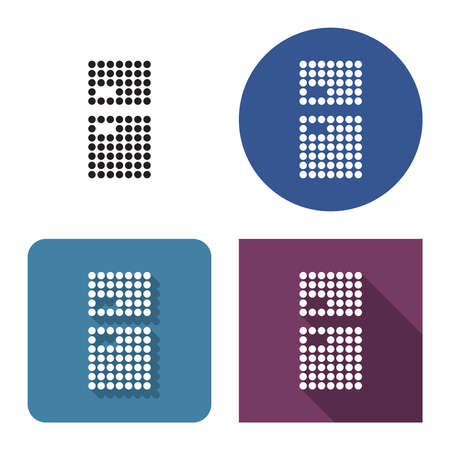 Dotted icon of refrigerator in four variants. With short and long shadow Illustration