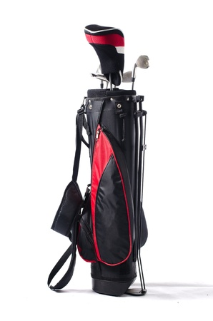 Black and red golf bag and clubs, isolated on white background photo