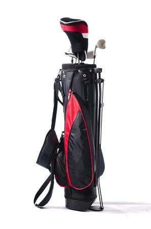 Fekete és piros golf táska és klubok, elszigetelt fehér háttér Stock fotó