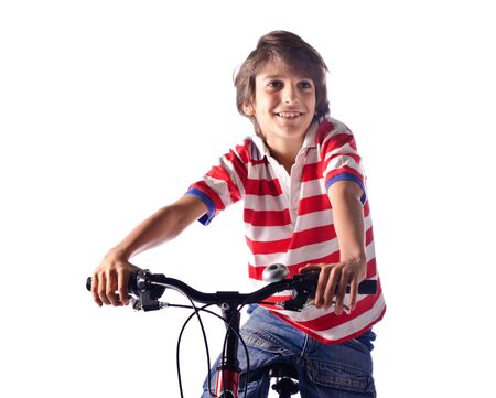 bycicle: Smiling little boy on bicycle white background - isolated