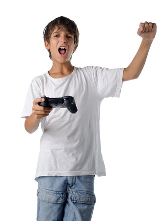 happy child with joystick playing videogames isolated on white Standard-Bild