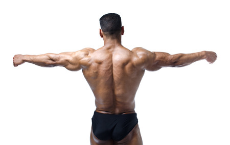 Back, shoulders and open arms of muscular bodybuilder on white background