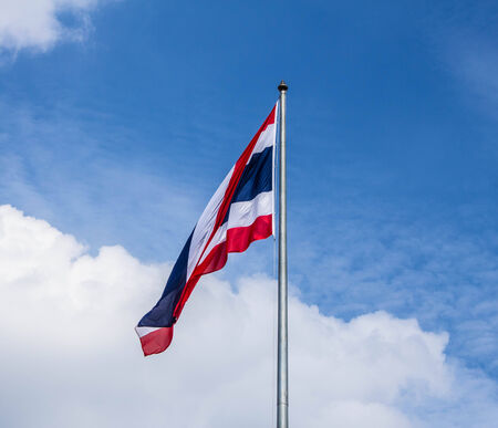 Thailand flag pole and bright sky