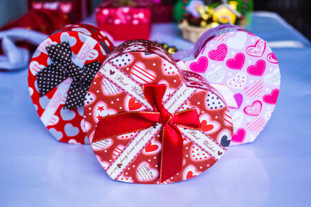 Heart shaped gift box and colorful during the festival. photo
