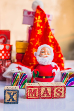 wooden and Santa Claus on Christmas photo