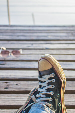 wooden floors: Wear sneakers and wooden floors. Stock Photo
