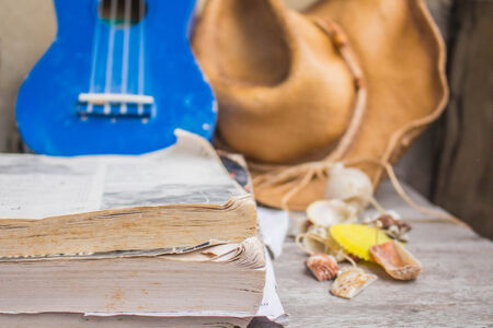 Songbook trip on a wooden table. Stock Photo