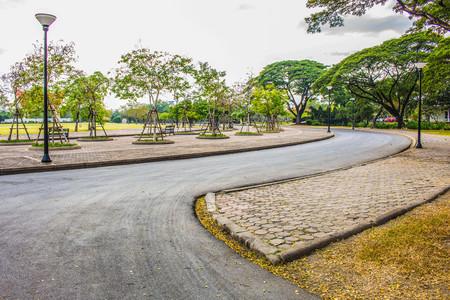 corridors: The road corridors within the park. Stock Photo
