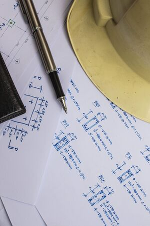 Drawings and tools on the table of engineers. photo