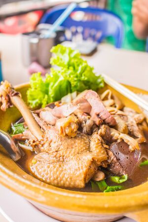 Duck noodle soup on  table of Thailand. photo