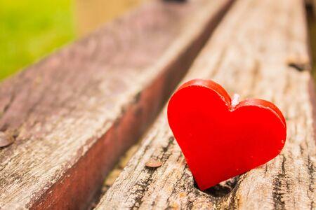 heart heat: Red Heart heat on the wooden Stock Photo