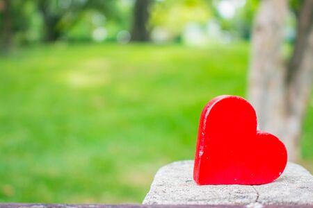 garden green: Red heart on the concrete in the garden green.