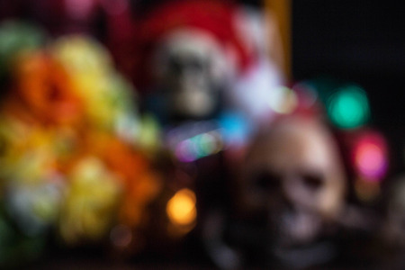 ball and chain: Skull and gifts with multicolored of blur.
