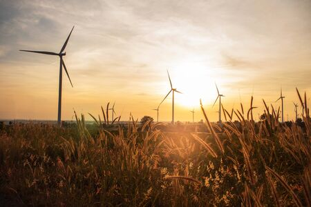 Prairie Wind turbines and solar morning. Stock Photo