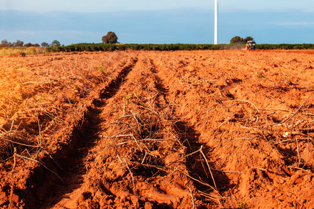 Wheel track on the ground with farmers using tractors plowing. Stock Photo
