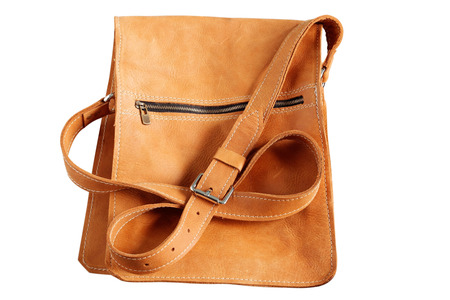Leather bag on a white background. Stock Photo