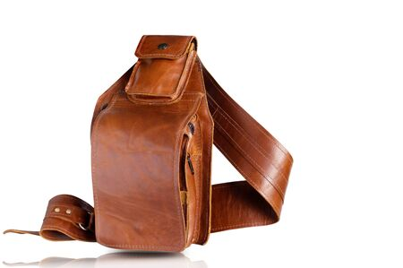 Brown of leather bag on a white background.