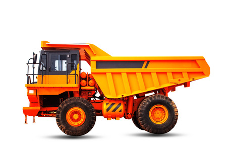machinery: Orange truck with a white background.