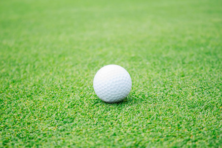 Golf ball on the green lawn.