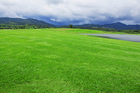 Lawns and ponds in the park on mountains.