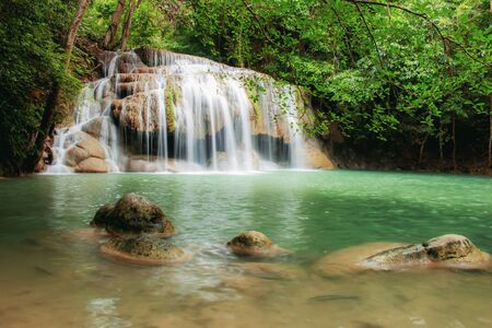 Waterfall with beautiful in park of Thailand.