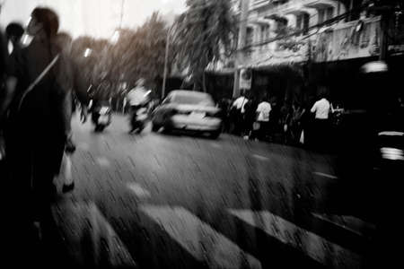 Urban society with black and white in the rainy season.