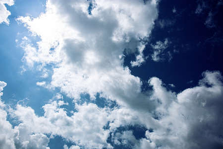 Cloud on the blue sky with sunlight.