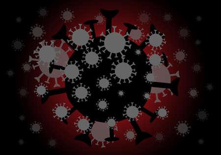 Black of coronavirus with dangerous on red background. Standard-Bild